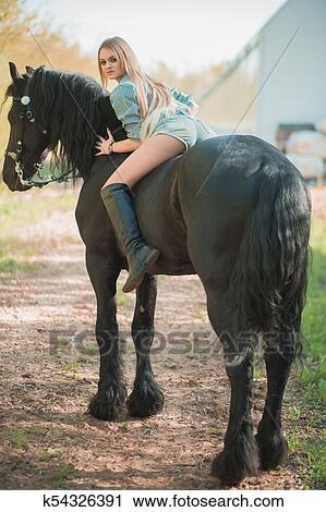 frau auf pferd bilder