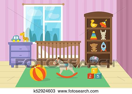 Clipart Of Cartoon Childrens Room Interior With Kid Toys Vector