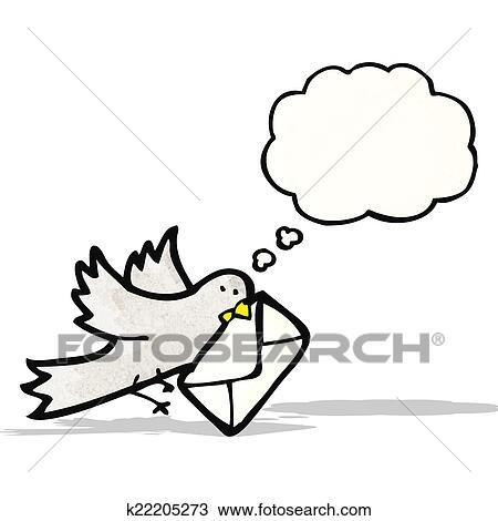 Clipart Dessin Animé Pigeon à Lettre K22205273 Recherchez Des