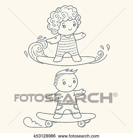 illustration of a kids on a surfboard and skateboard clip art k53128986 fotosearch fotosearch