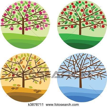 Clipart quatre saisons printemps t automne et hiver k3878711 recherchez des clip - Dessin 4 saisons ...