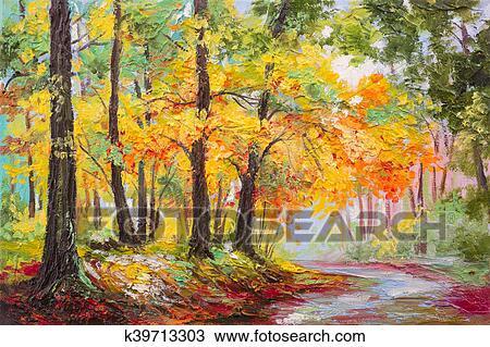 Pintura Oleo Paisagem Coloridos Floresta Outono Desenho