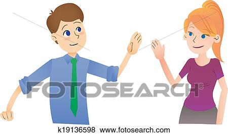 Stock illustration of say hi k19136598 search eps clip art saying hello to each other in the workplace casual greetings m4hsunfo