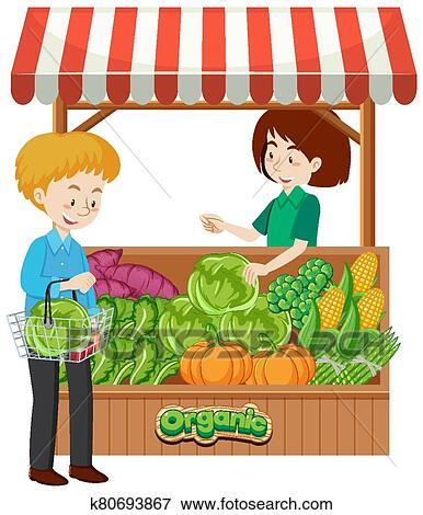 Shopkeeper and customer at vegetables vendor Clip Art ... (386 x 470 Pixel)