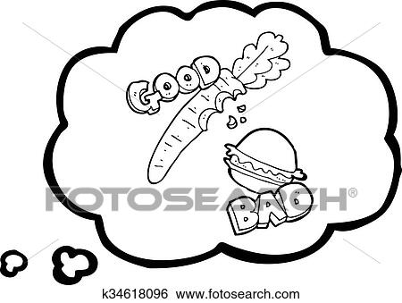 Clip Art Of Thought Bubble Cartoon Good And Bad Food K34618096