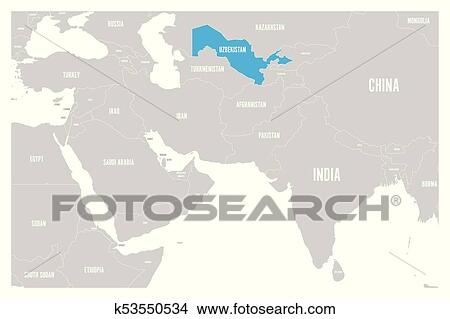 Clipart Of Uzbekistan Blue Marked In Political Map Of South Asia And