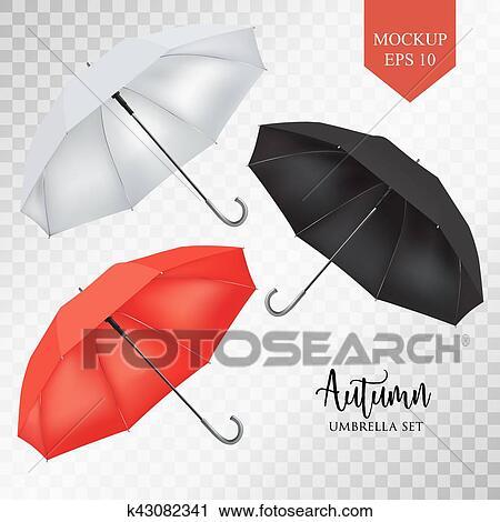 Clipart - vector, parasol, lluvia, paraguas, sombrilla, set ...