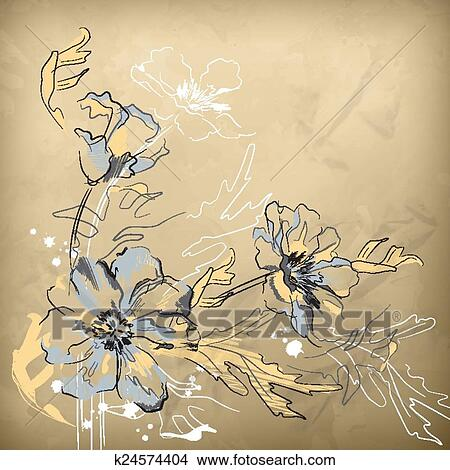 Clipart Vettore Matita Mano Disegno Fiori K24574404 Cerca