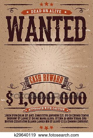 clip art of wanted vintage western poster k29640119 search clipart