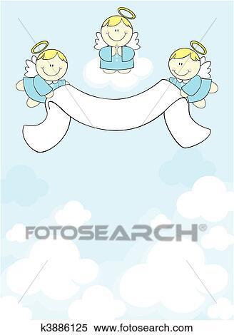 3 天使 中に 天国 クリップアート切り張りイラスト絵画集