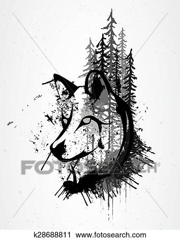 Abstract Grunge Wolf Head Clipart K28688811 Fotosearch
