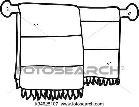 Black And White Cartoon Bathroom Towels Clip Art K34625107