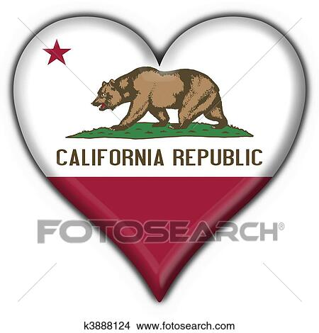 California USA State Button Flag Heart Shape