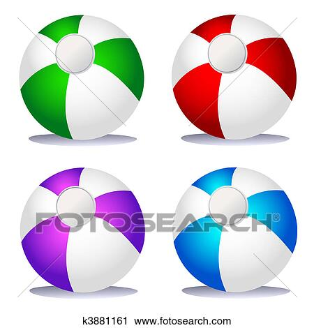 Clipart - conjunto, de, coloreado, pelotas playa k3881161 - Buscar ...