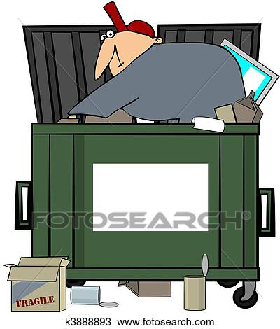 drawing of dumpster diving man k3888893 search clipart rh fotosearch com dumpster clipart free dumpster fire clipart