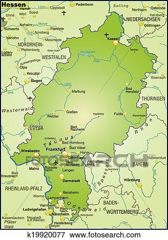 Landkarte Von Hessen Clip Art K19920077 Fotosearch
