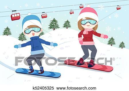 Man Is Snowboarding Clipart K52405325 Fotosearch