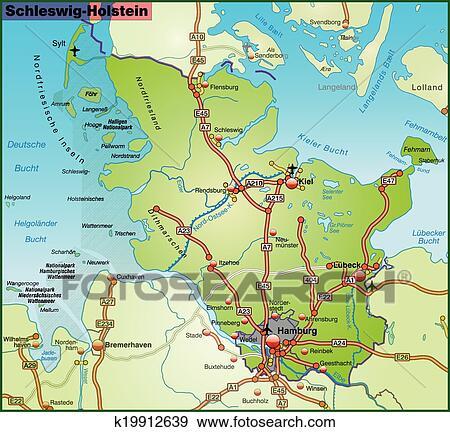Map Of Schleswig Holstein Clip Art K19912639 Fotosearch