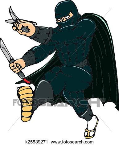 Ninja mascherato guerriero calciare cartone animato clipart