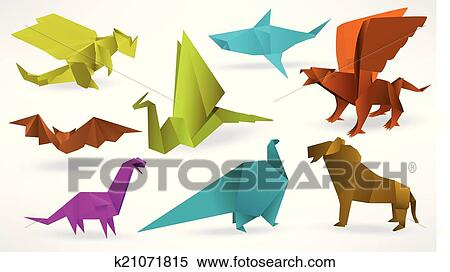 Clipart Of Origami Animals K21071815 Search Clip Art Illustration