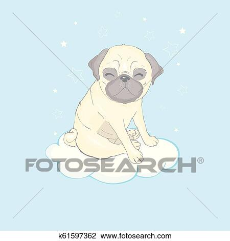 Pug Dog Cartoon Illustration Cute Friendly Fat Chubby Fawn Sitting Pug Puppy Smiling With Tongue Out Pets Dog Lovers Animal Themed Design Element Isolated On White Clipart K61597362 Fotosearch