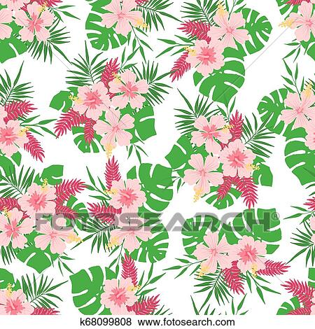 Seamless Pattern With Tropical Leaves And Flowers Clip Art K68099808 Fotosearch Perfect graphic for greeting cards. fotosearch
