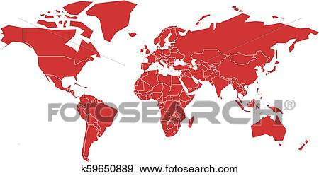 Clip Art Of Vector World Map K59650889 Search Clipart
