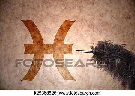 Stock Images Of Vintage Pisces Sign Of The Zodiac K25368526 Search
