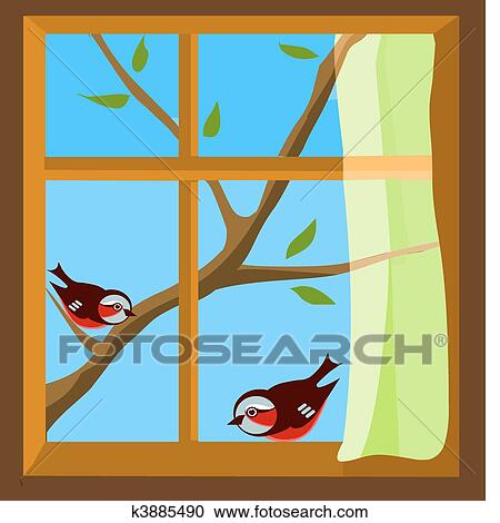 clipart of window with a view to two birds on spring branch k3885490 rh fotosearch com clip art window frame clipart window boxes with flowers