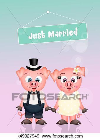 結婚式 の ブタ イラスト K49327949 Fotosearch