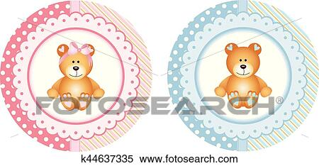 Baby Shower Round Sticker Labels With Teddy Bear Clipart K44637335