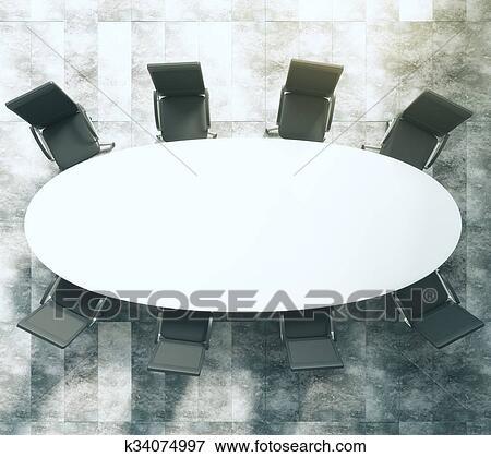 Blanc, ovale, table conférence, à, cuir noir, chaises, sur, plancher béton  Banque d\'Illustrations