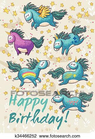 Carte Anniversaire A Mignon Unicorns Vecteur Dessin Anime Illustration Clipart K34466252 Fotosearch