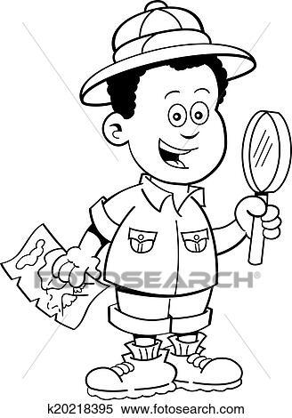 Cartoon African Boy Explorer Clipart K20218395 Fotosearch
