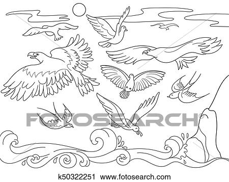 Coloring book cartoon for children. Above the sea birds of different kinds  fly. Black and white lines Clipart