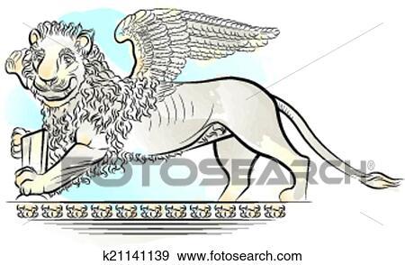 Clipart Dessin Couleur Lion A Ailes K21141139 Recherchez Des