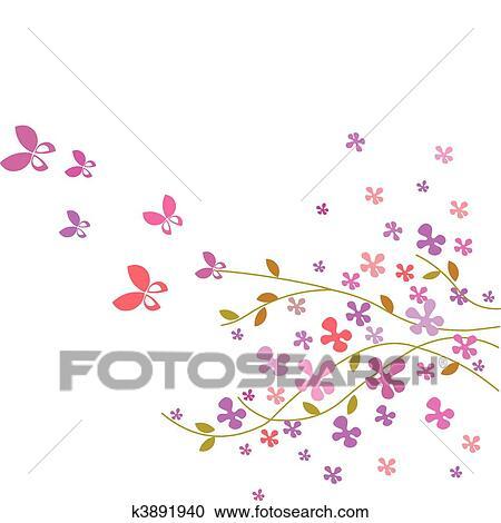 Clipart Fleur Fond à Papillons Dans Rose Couleurs 3