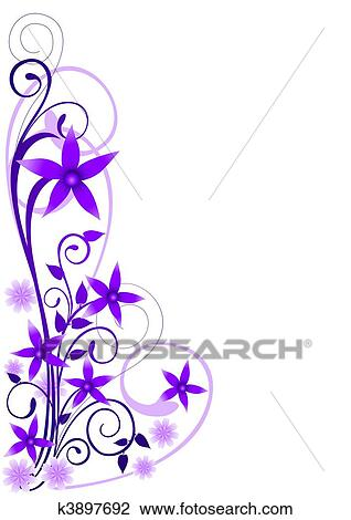 Clipart Fleurs Violettes Ornement K3897692 Recherchez Des
