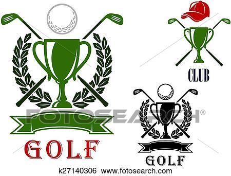 Golf emblem and badges design templates Clip Art