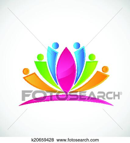 Clip Art Of Lotus Flower People Logo K20659428 Search Clipart