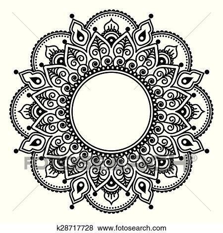 46613ebf6 Mehndi lace, Indian Henna tattoo Clip Art | k28717728 | Fotosearch