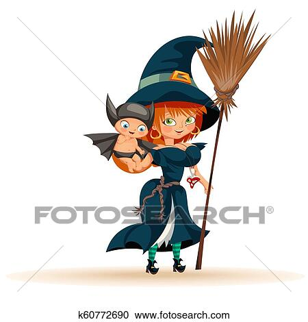 Halloween Costumes 07726.Mother With Son In Halloween Costume Flat Poster Clipart K60772690 Fotosearch