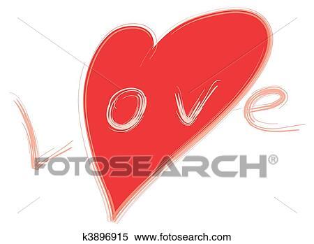 Archivio Illustrazioni Parola Amore E Rosso Stilizzato Cuore