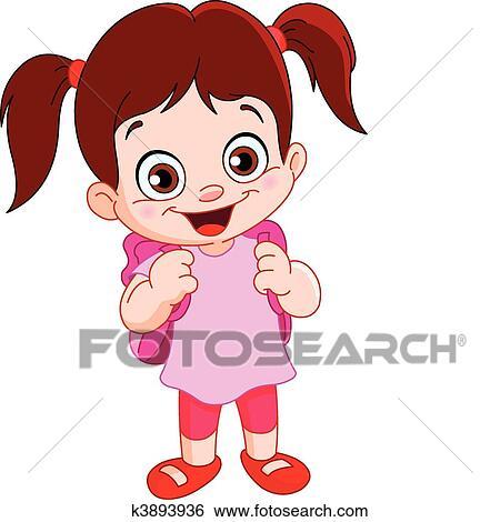 clip art of schoolgirl k3893936 search clipart illustration rh fotosearch com school girl clipart black and white school going girl clipart