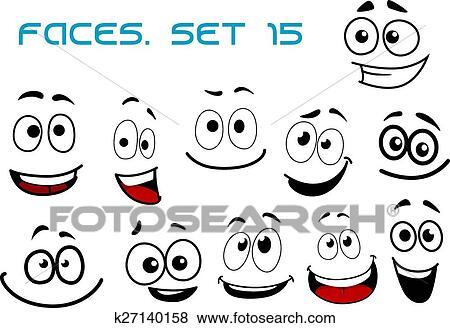 Clipart Spotprent Lachen Gezichten Met Googly Eyes K27140158