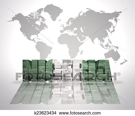 drawing word nigeria on a world map background fotosearch search clip art illustrations