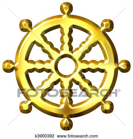 Clip Art 3d Goldenes Buddhismus Symbol Rad Von Dharma