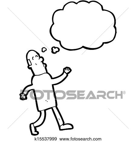 Stock Illustration Of Cartoon Walking Middle Aged Man With Thought