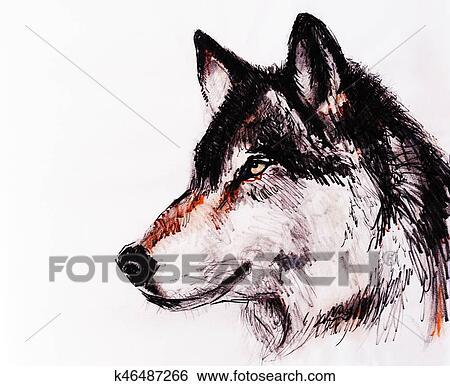 Desenho Lobo Ligado Antigas Papel Original Mao Draw