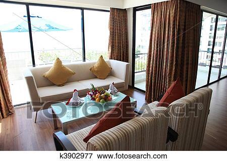Beeld - elegant, hippe, tropische, woonkamer k3902977 - Zoek Stock ...